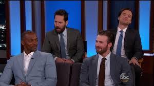 Anthony Mackie Paul Rudd Sebastian Stan And Chris Evans Appear On Jimmy Kimmel