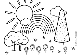 Nature Coloring Page For Kids With Rainbow Printable Free And Pages