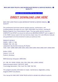 Man 1997 2009 Truck & Bus Workshop Repair & Service Manual #➀ ...