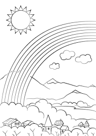 Click To See Printable Version Of Rainbow Over The City Coloring Page
