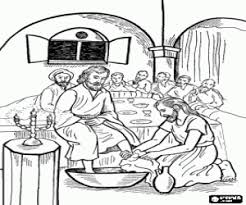 Jesus Washes The Disciples Feet In Temple Coloring Page