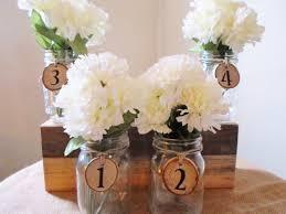 Mason Jar Centerpiece Table Decoration Wedding Numbers Rustic Barn
