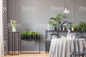 blumen auf schwarz tisch neben pflanzen innen grau esszimmer stühle mit le echtes foto stockfoto und mehr bilder blume