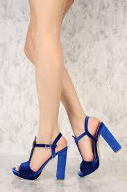 royal blue front t strap peep toe platform pump chunky high heels