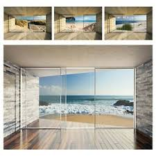 fototapete 3d effekt ausblick fenster terrasse meer strand