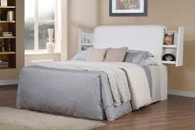 Solid White Upholstered Headboards Matched With Gray Bedding On Wooden Floor Rug