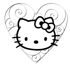 Spectacular Hello Kitty Valentines Coloring Pages With Color And