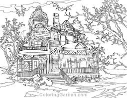 Haunted House Adult Coloring Page