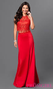 long red two piece halter top prom dress halter top prom dresses