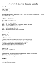 Box Truck Driver Resume Sample For Job Objective With Highlights Of ...