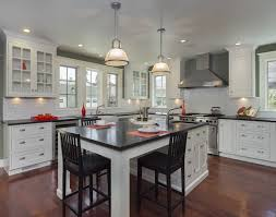 Dining Kitchen Island With Black And White Theme