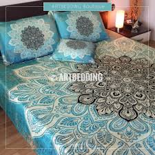 Mandala bedding Turquoise green Lace mandala duvet cover set