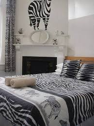 Animal Print Bedroom Ideas Zebra Bedding And Wall Decor Over Mantel