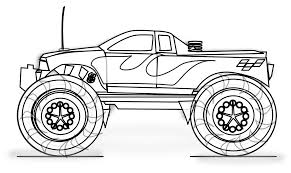 Truck Coloring Pages Free Printable Monster For Kids Line Drawings