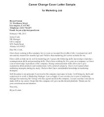Cover Letter For A Career Change In Changing