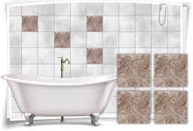 fliesen aufkleber folie marmor öl ölfarben abstrakt creme beige braun bad wc deko küche