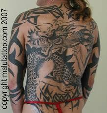 Tribal Tattoo Dragon Back Piece