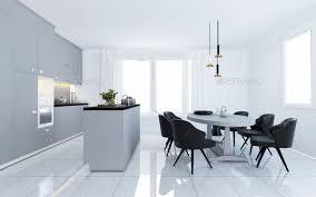 Modern White Kitchen Interior 3d Rendering Stockfoto Und 3d Rendering Scandinavian Vintage Modern Minimal Kitchen With White Dining Area