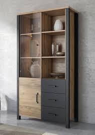 vitrinenschrank olin standvitrine 101cm appenzeller fichte schwarz industrial design