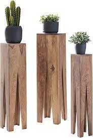 wohnling beistelltisch 3er set massivholz akazie wohnzimmer tisch design söulen landhausstil couchtisch quadratisch holztisch natur produkt braun