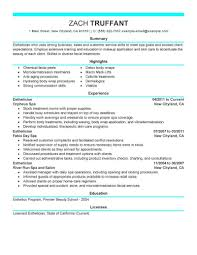 Best Esthetician Resume Example