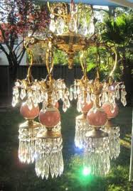 Plug In Swag Lamps Ebay by 1o2 Jeweled Swag Plugin Ab Hanging Crystal Lamp Chandelier Vintage