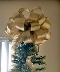 Large Gold Tree Topper Bow