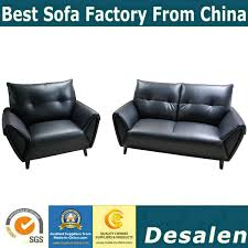 China Black Color Home Furniture Loveseat Sectional Leather