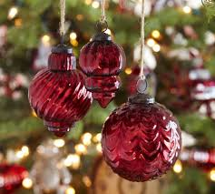Eclectic Mercury Glass Ornaments Red Set of 3