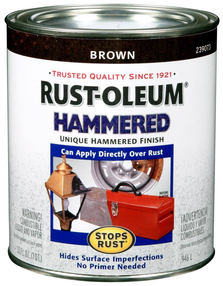 Rust Oleum 239073 Hammered Metal Finish Enamel Paint - Brown, 1qt
