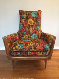Vintage Mid-Century Flower Print Arm Chair In The Style Of ...