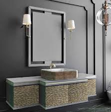 casa padrino luxus badezimmer set grau gold schwarz 1 waschtisch mit 4 türen und 1 waschbecken und 1 wandspiegel mit 2 wandleuchten luxus