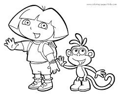 Dora And Boots The Explorer Color Page Cartoon Characters Coloring Pages Plate
