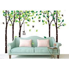 bdecoll birke baum wald wand aufkleber mit fly birds wandsticker für wohnzimmer wandtattoo kinderzimmer junge wand decor brown