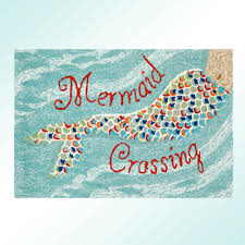 Mermaid Crossing Accent Rug Aqua 26 X 4