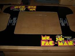 Midway Ms Pac Man Cocktail Table Arcade Underlay Silk Screen Printed On Plastic