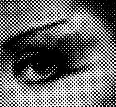 A Single Colour Halftone Image In Black Ink With Dots Visible