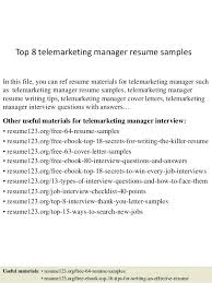 Resume Examples For Telemarketing Packed With Top 8 Manager Samples In This File You
