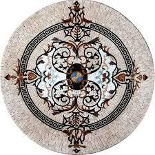 medallion mosaic pattern tile floor tabletop tabletop