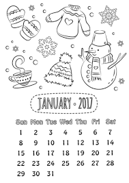 Click To See Printable Version Of January 2017 Calendar Coloring Page