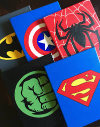 Vintage Superhero Wall Decor by Set Of 5 Superhero Wall Art Handmade Super Hero Canvas Paint