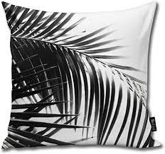 sotyi ltd kissenbezug palmenblätter schwarz weiß quadratisch für schlafzimmer wohnzimmer dekoration 45 7 x 45 7 cm