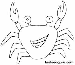 Printable Sea Animal Crab Coloring Pages