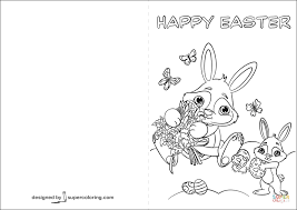 Click The Happy Easter Card With Cute Bunnies Coloring Pages To View Printable Version Or Color It Online Compatible IPad And Android Tablets