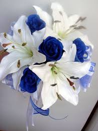 Bridesmaids Posy Wedding Bouquet Real Touch Ivory Lillies Silk Royal Blue Roses