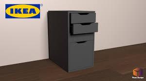 Ikea Alex Desk Drawer Unit Drop File Storage 3D