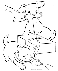 Coloring Pages Printable Dog Cat Book To Print Friendly Playing Box Ribbon Cute Animals Design