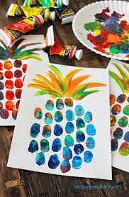 Pineapple thumbprint art kids craft crap Pinterest