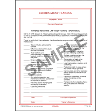 100 Powered Industrial Truck Training Lift Certificate Operational