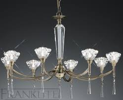 lustre desian 8 éclairages bronze cristal à facettes verre